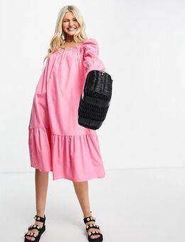 Cotton poplin midi dress in bright pink