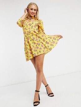 Cutout tie neck skater dress in yellow floral print