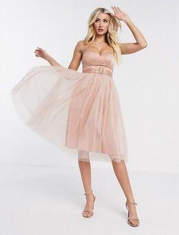 London tulle strapless dress-Neutral