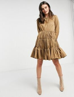 Mini dress with gathered tiering in camel-Neutral