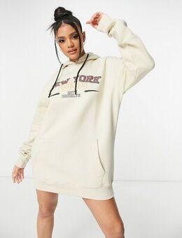 Motif oversized hoodie sweat dress in beige-Neutral