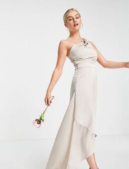 Bridesmaid one shoulder maxi dress in mink-Pink