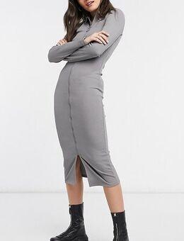 Long sleeve midi zip front dress in grey