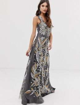 Maxi dress in embellishment with square neck detail in grey