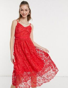 Mixed lace midi dress in Red