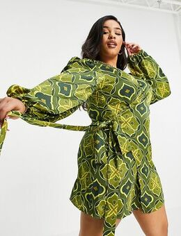 Exclusive wrap tie mini dress in green geo tile print