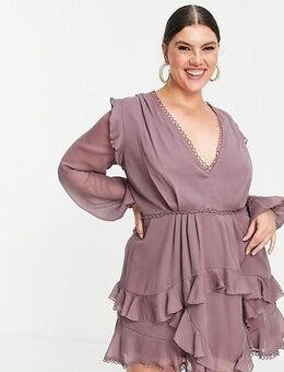 ASOS DESIGN Curve mini dress with long sleeve and circle trim-Multi