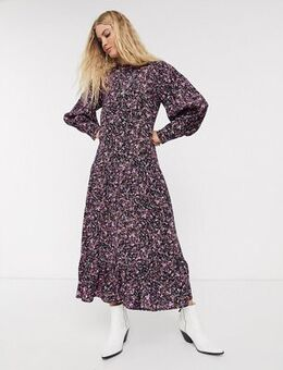 Midi dress in mono print-Multi