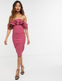 Off shoulder bodycon midi dress with frill detail in rose pink