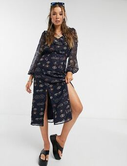 Midi tea dress with ruffle collar and splits in eye print-Navy