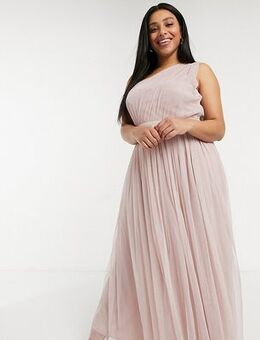 Anaya With Love Plus Bridesmaid tulle one shoulder maxi dress in pink