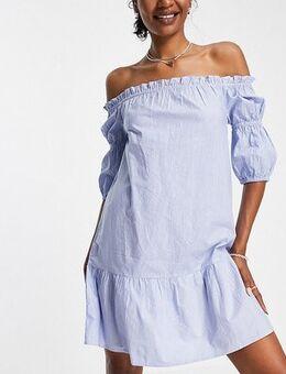 Off shoulder mini dress in blue stripe