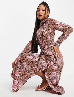 Midi shirt dress in floral-Multi