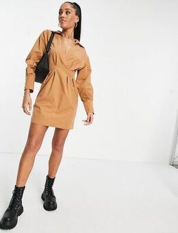 Casual nipped in waist mini shirt dress in brown