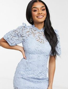 Puff sleeve high neck lace mini shift dress in blue