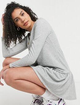Drop hem sweat dress in light grey