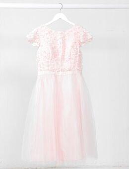 Textured midi dress in pink