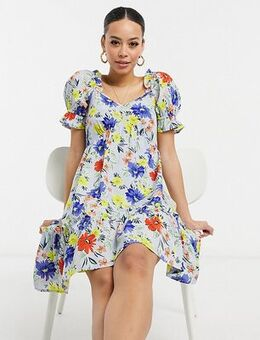 Bold floral mini dress-Multi
