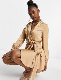 Club L midi satin wrap dress in camel-Neutral