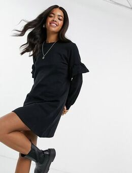 Frill sleeve sweat mini dress in black