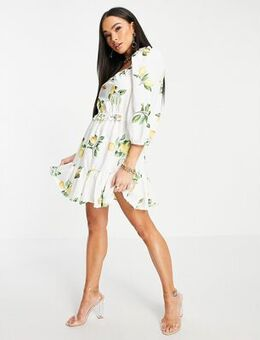 X Stacey Solomon puff sleeve ruched mini smock dress in summer lemon print-Multi