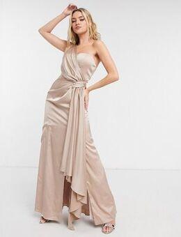 Tasha satin dress in champagne-White