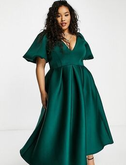 Exclusive prom skater midi dress in forest green