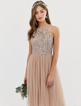Bridesmaid halter neck midi tulle dress with tonal delicate sequins in taupe blush-Brown