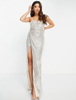 Strapless sequin maxi dress in gold