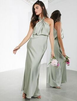 Satin ruched halter neck maxi dress in sage green