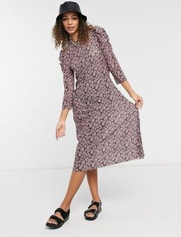 Midi dress with ruffle sleeve in purple ditsy floral-Multi