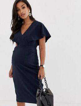 ASOS DESIGN Maternity angel sleeve midi pencil dress in navy