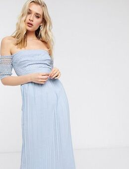 Pleat lace midaxi dress in blue