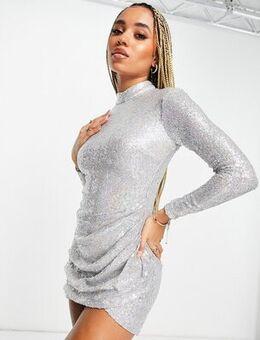 Sequin wrap mini dress in silver