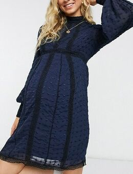 ASOS DESIGN Maternity Lace Victorianna Dress in navy
