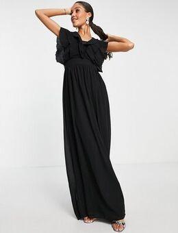 Frill detail maxi dress in black