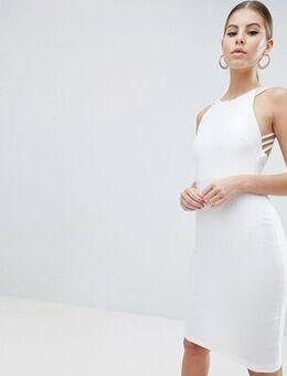 Strappy back midi dress in white