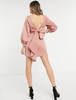 Bow back mini dress in rose pink