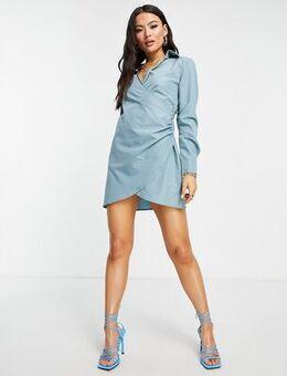 Plunge front wrap shirt dress in sage-Green