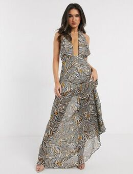 Cross front halterneck maxi dress in yellow print
