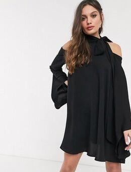 High neck cold shoulder swing dress in black
