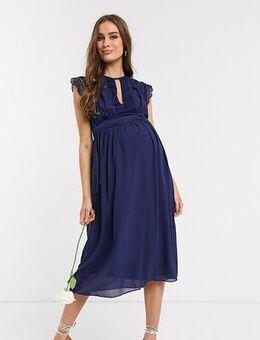 Bridesmaid lace detail midi bridesmaid dress in navy-Blue
