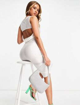 Cowl midi dress with strap detail in white
