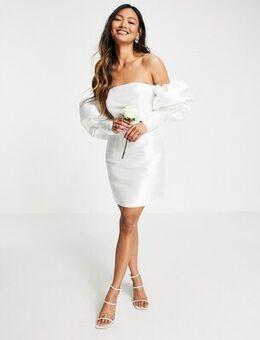 Puff sleeve off shoulder mini wedding dress-White