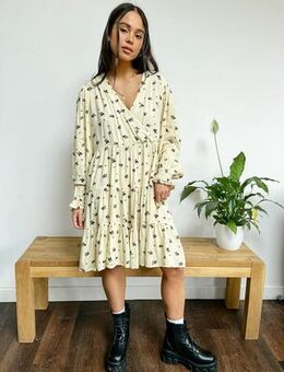 Very oversized wrap front smock dress in panda party print-Neutral