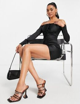 Satin ruched front dress in black