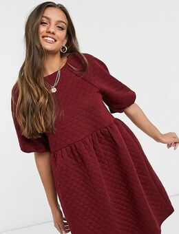 Quilted smock dress in burgundy-Red