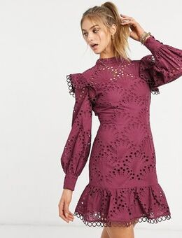 High neck shell broderie mini dress with pephem in oxblood-Red