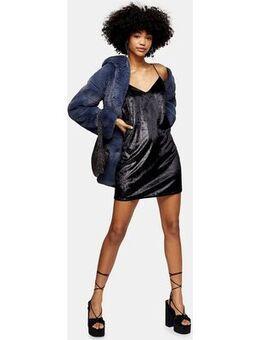 Glitter velvet slip dress in black