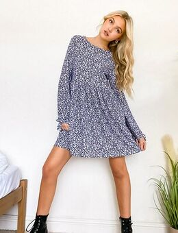 Long sleeve smock dress in 90's floral-Navy